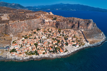 Aerial view of the old town of Monemvasia in Lakonia of Peloponnese, Greece.