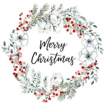 Merry Christmas wreath with text, white background. Green fir twigs, flowers and red berries. Vector illustration. Nature design greeting card template. Winter xmas holidays