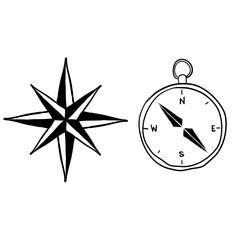 doodle compass illustration with handdrawn doodle style cartoon vector