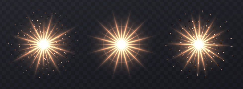 Light flares set isolated on transparent background. Golden lens flares, bokeh, sparkles, meteors, shining stars with rays collection. Glowing vector light effect. Vector illustration.