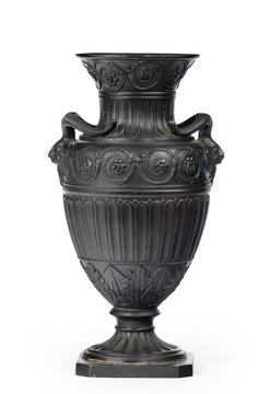 Vintage Greek or Roman vase, amphora ornament in black isolated on white