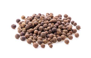 Fototapeta Allspice berries (also called Jamaican pepper or newspice) over white background. obraz