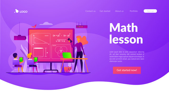 Kids studying mathematics in digital classroom with teacher, tiny people. Math lessons, digital maths laboratory, math tutoring classes concept. Website homepage header landing web page template.