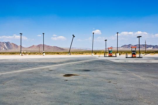 petrol station in the desert near Las Vegas with rotten lantern