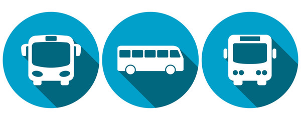 Symbols for bus transport, front and side views