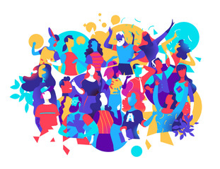 Group of male and female characters celebrate, have fun, dance at a party. Vector illustration
