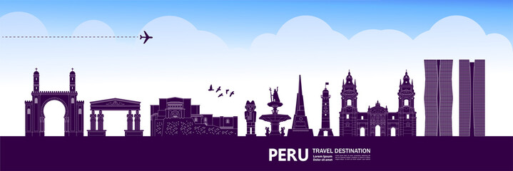Fototapete - Peru travel destination grand vector illustration.