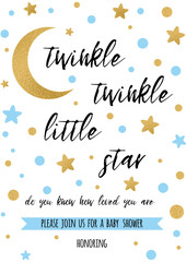 Twinkle twinkle little star text with golden oranment and blue star for boy baby shower card template