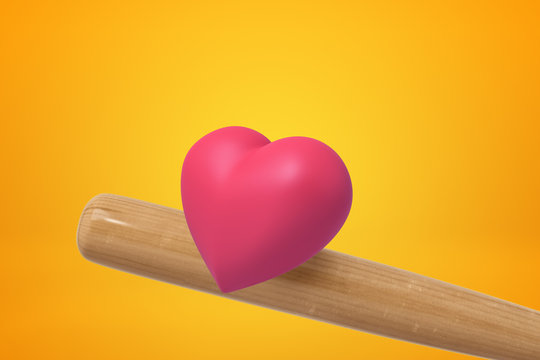 3d rendering of pink heart and wooden baseball bat on yellow background