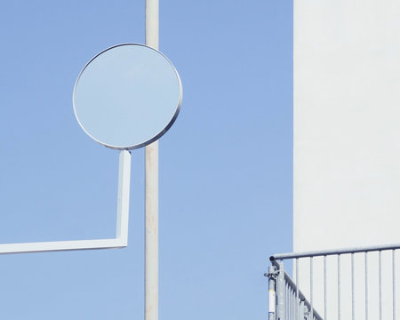 Traffic mirror by building