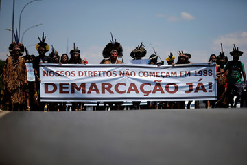Indigenous people from ethnic groups Pataxo and Tupinamba protest to defend indigenous land, in Brasilia
