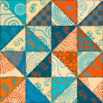 Seamless background pattern. Patchwork pattern of triangle shapes in indian style. Vector image