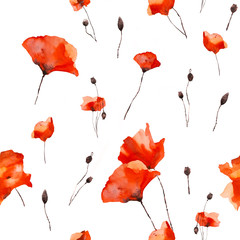 Seamless floral pattern with poppy. Watercolor illustration.