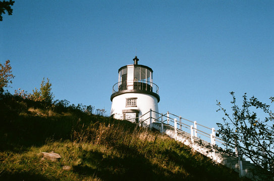 Low angle view of stairway to small lighthouse