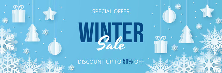 Winter sale banner. Paper cut vector. Vector Illustration.