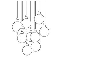 Christmas balls isolated line drawing, vector illustration design. Christmas collection.