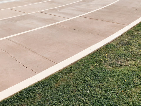 Lawn and asphalt