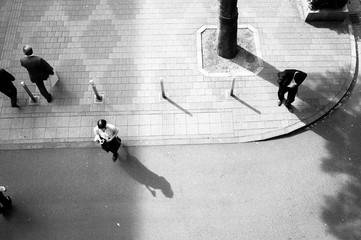 High angle view of pedestrians on street corner