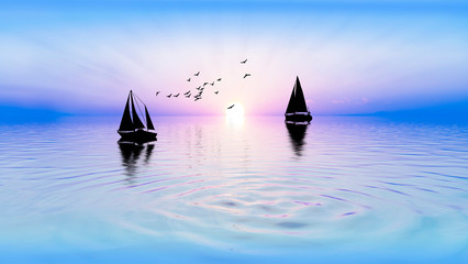 veleros en el mar al atardecer