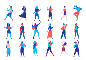 Collection of vector male and female characters for character animation. Company men women avatars isolated on white background. Vector illustration