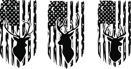 Distressed American deer hunting Flag