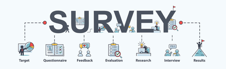 Survey banner web icon for business and marketing, questionnaire, Feedback, target, customer insight, satisfaction and research. Flat cartoon vector infographic.