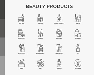 Beauty products thin line icons set: skin care, cream, gel, organic cosmetics, make up, soap dispenser, nail care, beauty box, deodorant, face oil,  sheet mask. Modern vector illustration.