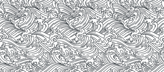 Orient wave seamless background illustration.