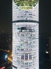 Exterior view skyscraper at night