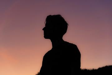 Silhouette of man at sunrise