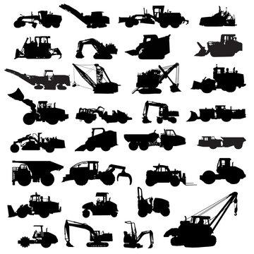 Set of building machinery. Silhouettes of Tractors, Asphalt paver, cold planer, compactor, Wheel loaders, bulldozer, Excavators, Pipelayer, Backhoe Loader, Tracked Loader  and etc vector illustration