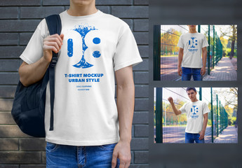 4 T-Shirt Mockups with Outdoor Backgrounds