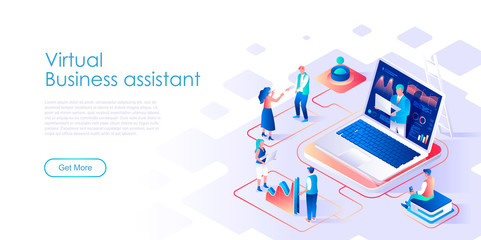 Virtual business assistant isometric landing page vector template