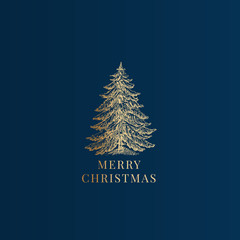 Merry Christmas Abstract Vector Classy Label, Sign or Card Template. Hand Drawn Golden Pine Tree Sketch Illustration with Vintage Typography. Premium Blue Background