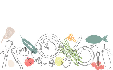 Custom vertical slats with your photo Background with Utensils and Food. Cooking Pattern. Vector illustration.