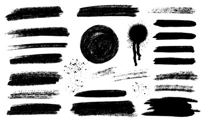 Tuinposter Vormen Brush strokes templates, vector grunge paintbrush set