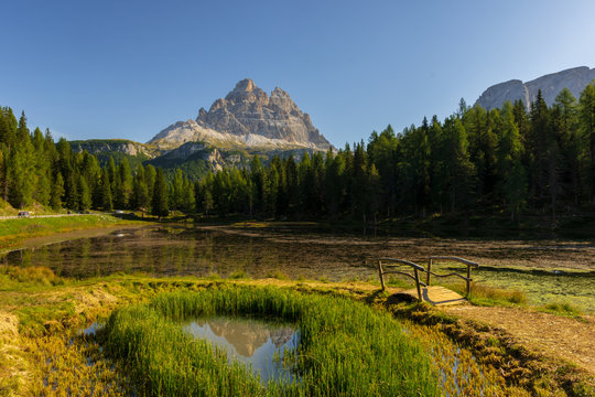 Reflection of a mountain at Lago d'Antorno, Belluno province, Sexten Dolomites, Italy
