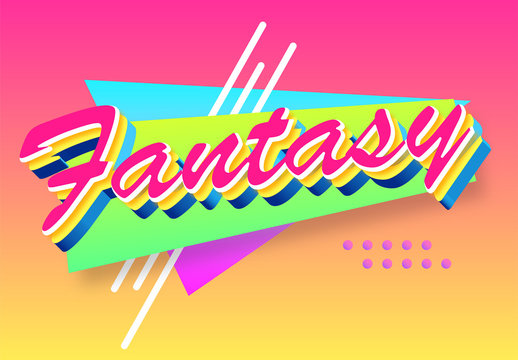Colorful Retro Geometric Colorful Text Effect