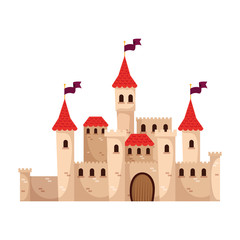 castle fairytale with flags isolated icon vector illustration design