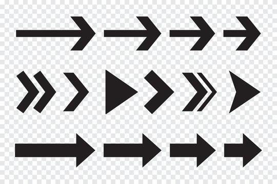 Set of black arrows. Arrow icons on a transparent background. Arrow buttons for design. Big collection of black arrows