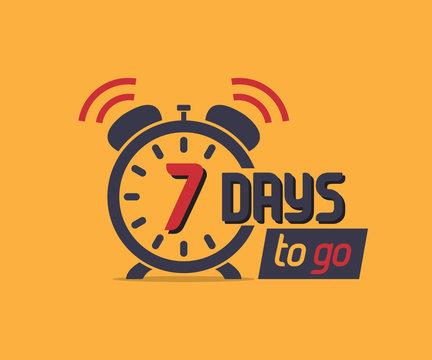 7 days to go countdown icon with alarm clock. Marketing promo icon