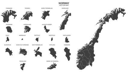 political map of Norway isolated on white background