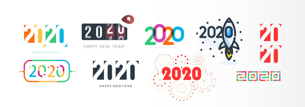 New Year diverse unusual sign set for 2020 event decoration, logo graphic, creative emblem concept for banner, brochure, flyer, calendar, greeting card, event invitation. Isolated vector logotype.