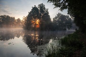 Sunrise on pond. Foggy morning