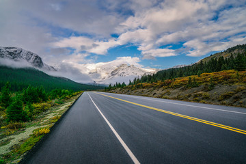 Beautiful Highway Into Epic Mountain Landscape