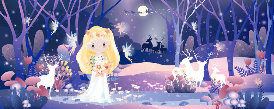 Landscape winter wonderland with Cute princess in magic forest with little fairys flying around.