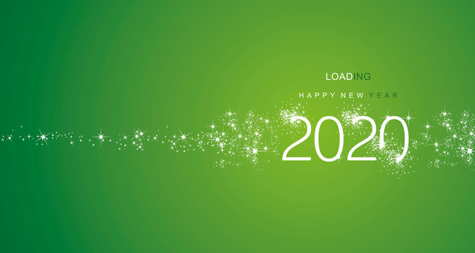 New Year 2020 greetings loading firework white green color vector