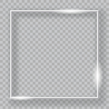 Silver frame. Vector graphic element on transparent background. Useful for cristmas and holiday backgrounds