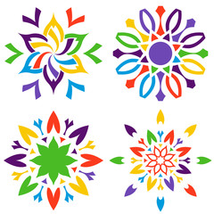 Set of colored decorative flowers. Ornamental signs.