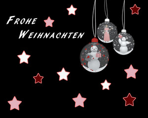 Weihnachtskarte mit Weihnachtskugeln und Sternen. Text: Frohe Weihnachten in Deutsch. 3d illustration